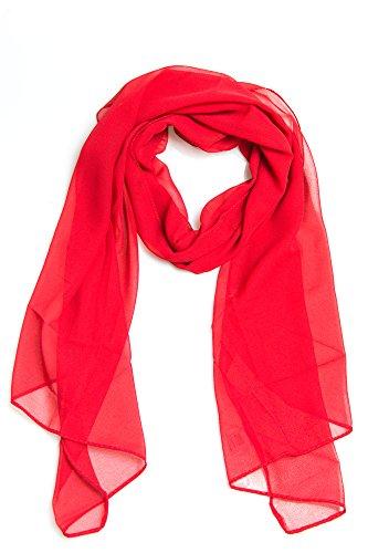 Frühlingsschal Sommerschal Schal Halstuch Unifarben (einfarbig) für Frühling und Sommer 100% Viskose (rot)