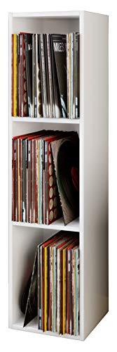 """VCM Regal Schallplatten Standregal Bücherregal Universal Archiv LP Möbel Archivierung Holz Weiß 115x34x29 cm """"Platto"""""""