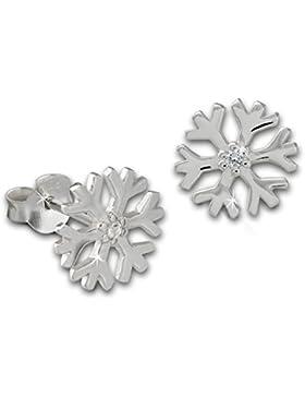 SilberDream Ohrstecker Schneeflocke Zirkonia weiß 925er Silber Ohrring Ohrschmuck SDO8032W