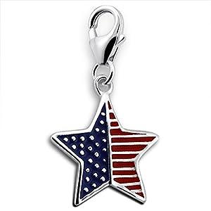 TheCharmWorks Sterling Silber USA Flagge Charm mit Karabinerverschluss