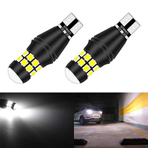 KaTur W16W 921 T15 912 LED Ampoule CANBUS sans Erreur sans polarité 6500K 3030 20SMD 12V 24V pour Feux de recul de feu de stationnement arrière de Voiture (2pcs, Blanc)