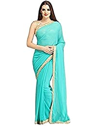 Varniraj Creation Women's Georgette Embroidered Saree With Blouse Piece - Sahil04_Blue_Free Size