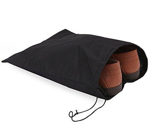 10X Milopon Schuhbeutel Reise-Schuh Taschen staubdichten Schuhtasche mit Kordelzug schwarz (Qualität Taschen Gepäck)