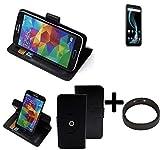 K-S-Trade® Case Schutz Hülle Für -Allview X4 Soul Infinity Plus- + Bumper Handyhülle Flipcase Smartphone Cover Handy Schutz Tasche Walletcase Schwarz (1x)