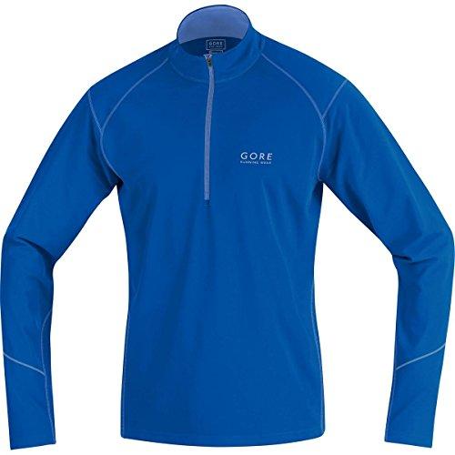 GORE RUNNING WEAR, Maglia Corsa Uomo, Maniche lunghe, Termica, GORE Selected Fabrics, ESSENTIAL Thermo Zip long, Taglia M, Blu, SESSET606504