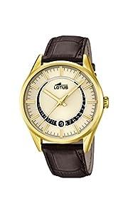 Lotus Reloj de cuarzo Hombre dorado con esfera analógica pantalla y correa de piel color marrón 15979/1 de Lotus