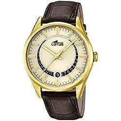 Lotus Reloj de Cuarzo Hombre Dorado con Esfera analógica Pantalla y Correa de Piel Color marrón 15979/1