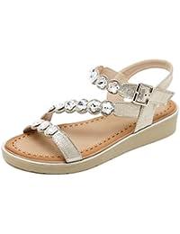 Unbekannt Sandalen Women's Open Toe Flip Flop Strass Flachen Strand Schuhe, Golden, 36