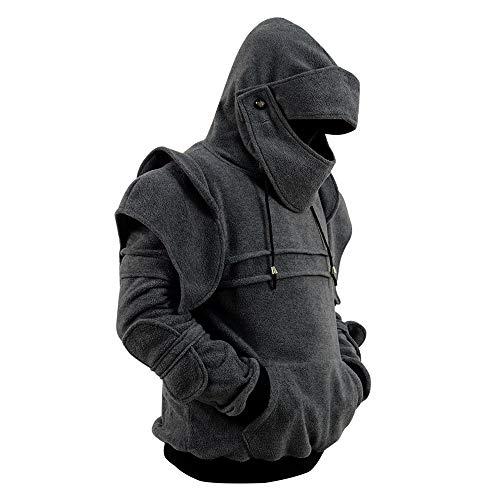 (Herren Arthur Knight Hoodie Mittelalterliche Rüstung Sweatshirt Langarm Jacken Mantel (Herren L, Grau))