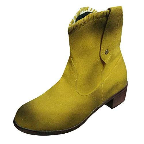 serliyDamen Boots Cowgirl Cowboy Stiefel Westernstiefel mit spitzem Zehenbereich Blockabsatz Western Stiefel Western Cowboystiefel Spitz Zehen Halbhohe Stiefel -