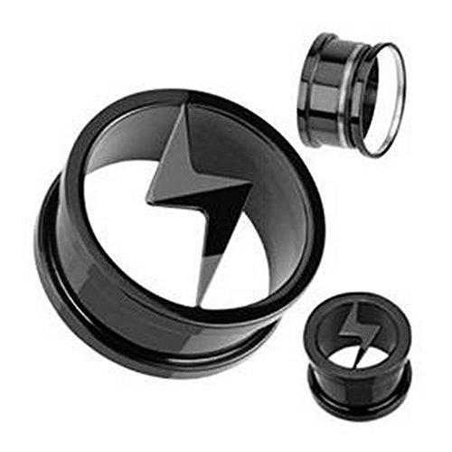 Plug tunnel logo bolt blackline en titane et en acier chrirugical 316L Taille 22 mm Noir