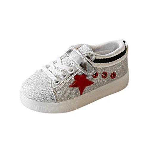 Ursing Baby Weich Sigle Schuhe Haken & Loop Mode Sneaker LED Leuchtet Star Kind Kleinkind Beiläufig Bunt Licht Skateboard Schuhe Zum 1-6 Jahre Alt (21, Rot)