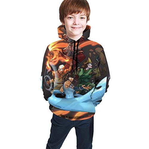 Hidend Kinder Kapuzenpullover Sweatshirt, Avatar The Last Legend Airbender of Korra Aang Fit Teen Hooded Sweater Black