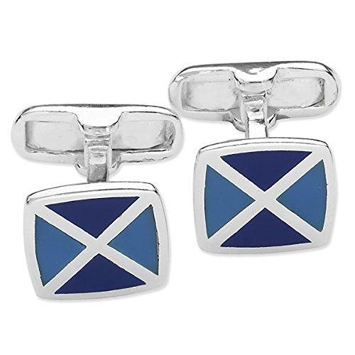 Homme carré deux tons Boutons de manchette en émail bleu - Bleu et bleu marine - Argent Sterling 925 - Style Classique à rabat Boutons de manchette