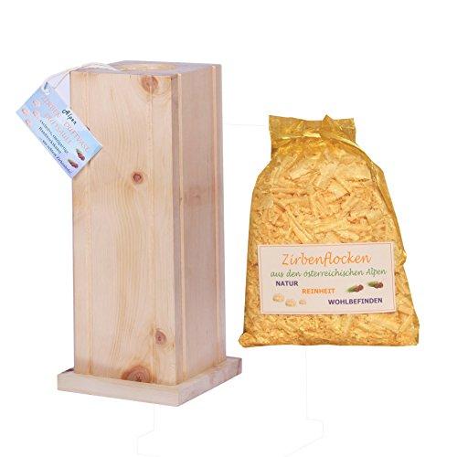 Zirben-Duft-Vase - Echtholz Blumenvase/Zirben-Duftsäule - 30x11 cm - Handarbeit - mit extra Zirbenflocken im Organza-Beutel