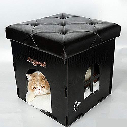 MANXUEUP Chair Hocker Square Hocker Mit Stauraum Cat Kitten House 2In1 Wohnzimmer Kid Aufbewahrungsbox FußstützeSchwarz Pu