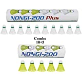 NONGI Combo Plus Plastic Badminton Shuttlecock Pack of 15(White)