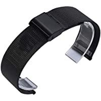 Malloom Reloj Acero Inoxidable Color Pulsera Correa para Xiaomi Huami Amazfit Bip Youth Watch (Negro)
