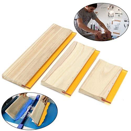 3pcs /lot Durometer Breite des Griffs Silk Screen Printing Squeege Screen Printing Material Handle Woden Squeege Ink Scraper Board Tools 16cm 24cm 33cm Board Scraper