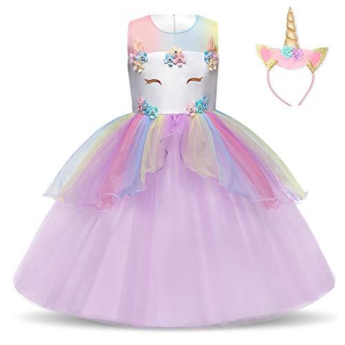 NNJXD Vestido de Unicornio para niñas Fiesta de Apliques de Flores Cosplay Disfraz de Halloween + Gorros Tamaño (130) 5-6 años Púrpura