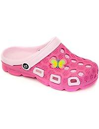 AQUA-SPEED® HAWAII Sabots pour Enfants et Adolescents (Tailles 24-35 Clogs Piscine Plage Boucle de fixation Trous de ventilation), Couleur:Farbe 03 / Pink-Rosa;Badelatschen grösse:33