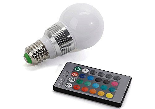 chileeany 5W RGB E27Leuchtmittel LED 16Farben wechselbarem Motiv, Urlaub Dekoration, Fernbedienung mit Knopfleiste [Klasse énergétiquea +]
