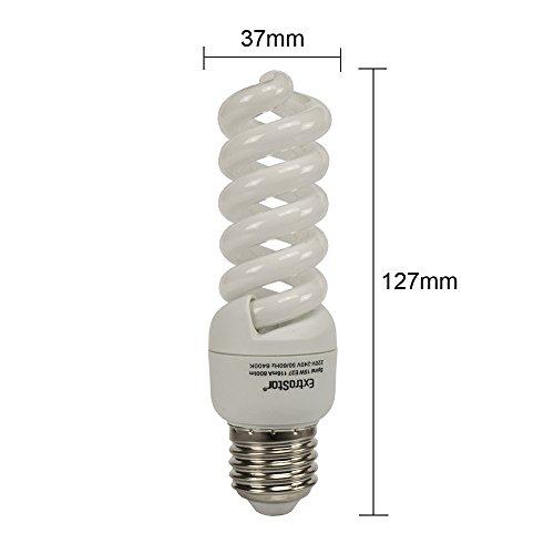 5X E27 Energiesparlampen ExtraStar 15W (=63W) Spirale Sparlampe 6400K Kaltweiss FE738 (15 Watt) -