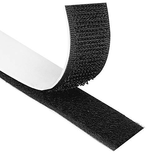 Blooven Klettband Selbstklebend 8M Extra Stark, Doppelseitig Klebende mit Klettverschluss 20mm Breit Selbstklebendes Klebepad Flauschband und Hakenband (Schwarz) (Fenster, Herd)