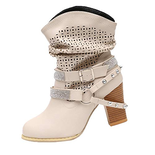 Dorical Damen High Heels Stiefelettenmit Blockabsatz Modische Hohl Strass Halbschaft Kurzschaft Stiefel/Frauen Herbst Übergrößen Boots Party Ankle Abendschuhe Gr 35-43(Beige,42 EU)