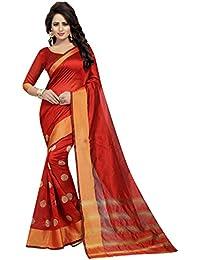 Muta Fashions Cotton Polyester Silk Red Women Saree