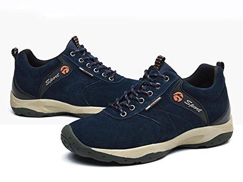 Suetar Calde Chaussures De Trekking Pour Hommes Chaussures De Randonnée En Cuir Suédé Automne Et Hiver Trekking Et Chaussures De Randonnée Résistantes Bleu