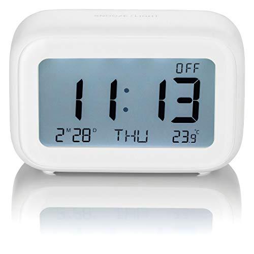 SEBSON Reloj Despertador Digital Blanco a Pilas, Reloj de Mesa con pulsador de repetición de Alarma...