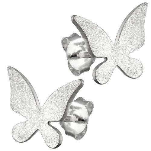 Vinani Ohrstecker Schmetterling gebürstet Sterling Silber 925 Ohrringe OSLM