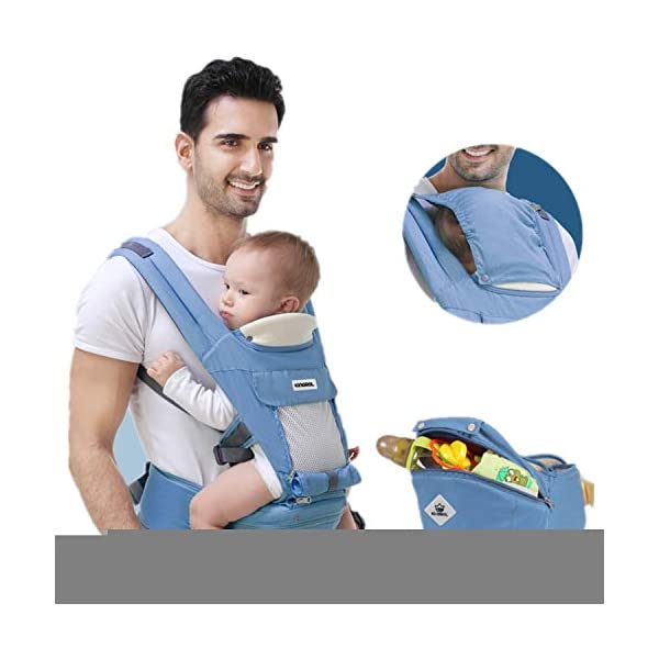 All Seasons 360 Ergonomic Baby Carrier 3 in 1 Backpack with Hip Seat-12 Position,Adapt to Growing Baby (Newborn, Infant & Toddler), Adjustable Baby Carrier Sling,Baby Diaper Bag with Large Capacity tqgold Ergonomic And Comfortable: Ergonomic Butterfly hip seat design to ensure baby's hips and legs are positioned correctly and comfortably, minimizes leg bending and prevents O-LEG Breathable And Soft: 100% cotton with high quality 3-D mesh keeps you and your baby cool. Removable shutter can keep warm in winter and cool in summer, suitable for all seasons use. Wide and sturdy lumbar belt ensures baby's weight is distributed evenly over the carrier's hip and shoulder areas for comfort 3 in 1 and All Carry Positions: The Waist Stool (bucket seat) could be detached from Upper Strap by unbuckling the connection buckles. Both Upper Strap and Waist Stool can be used separately. Front inward (fetal, infant, or toddler settings), front outward, hip or backpack carry options all in one. Face baby in or out. Wear on the hip or back as baby grows. 65