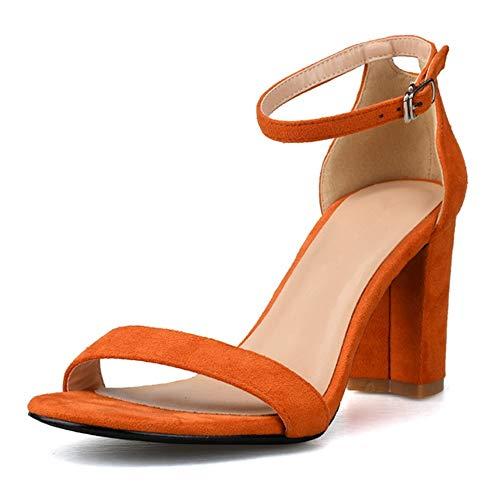 Fenghz-Shoes Schuhe Mode Ankle Strap Sandalen für Frauen Stiletto 8cm Absatz Hohe Chunky Stöckelschuhe für Damen Singgle Band Open Toe (Color : Orange, Size : 36 EU) Ankle Strap Sneakers