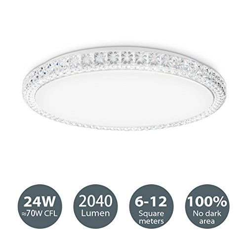 LVWIT Lámpara de Techo LED - 24W equivalente a 144W, Plafón LED de 2040 lúmenes, Color blanco neutro 4000K, No regulable - 39,5 x 39,5cm.