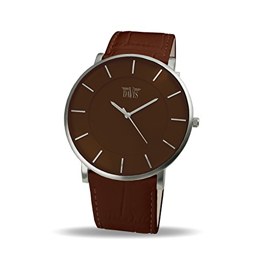 Davis 0916 - Reloj Diseño Hombre Mujer Marrón Cuadrante Extra plano Correa de Piel Marrón