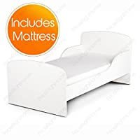 Price Right Home Plain White Design MDF Toddler Bed + Foam Mattress