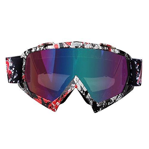 Fodsport Gafas de moto Gafas crossed Gafas ciclismo Gafas Protección Mascara para Moto Motocross Esqui Deporte Ajustable (Multicolor D)
