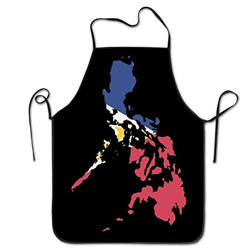 Outcomfy Filipino Map Philippines Flag Women Men Kitchen Bib Apron Cafe Tea Shop with Adjustable Neck Chef's Apron