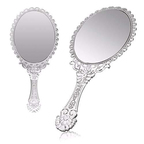 Silber Vintage Griff Spiegel Damen Floral Oval Runde Make-up Hand halten Spiegel Prinzessin Lady Make-up Beauty Kommode Geschenk