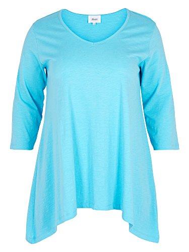 Zizzi Damen Longshirt 100% Baumwolle große Größen Hellblau