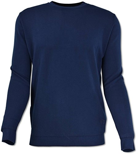 Carlo Colucci R-Neck Pullover in 100% Baumwolle, Navy Blau XL