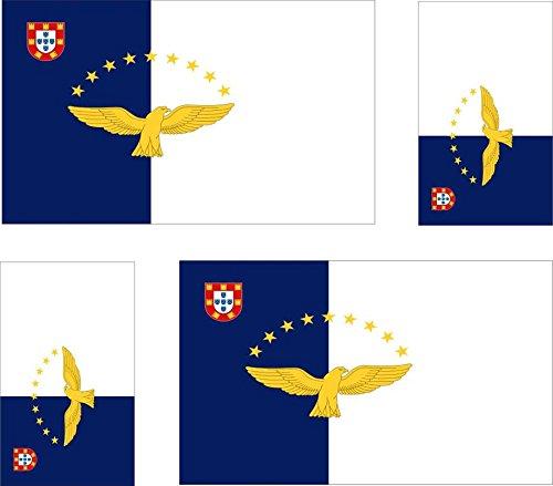 Preisvergleich Produktbild 4 x selbstklebend Sticker Auto Moto Koffer Laptop Flagge Azoren Azoren AÇ