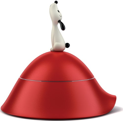 adi-alessi-lula-dog-bowl-with-lid-in-18-10-stainless-steel-red-thermoplastic-resin