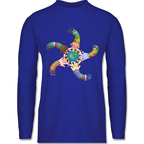 Shirtracer Statement Shirts - One World, One Sun, Hand in Hand - Peace - Herren Langarmshirt Royalblau