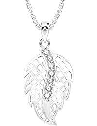 VK Jewels Leaf Rhodium Plated Alloy CZ American Diamond Pendant With Chain For Women [VKP2621R]