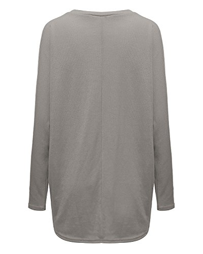 Zanzea Sexy Women Loose Solid Irregular Long Sleeve Baggy Jumper Casual Tops Blouse T-shirt Gray 3xl