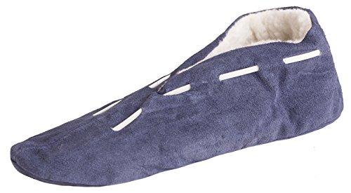 Brubaker pantoufle homme et femme, Chaussons suede cuir avec semelles antidérapantes - L'intérieur pur laine vierge - Bleu - Taille: EURO 35 - 47