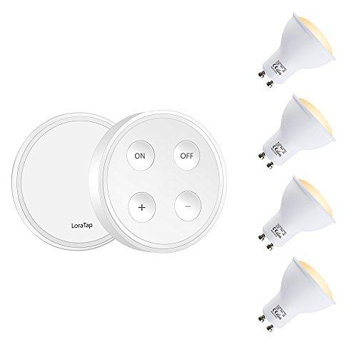 Wireless Dimmer Set - 4er GU10 LED Spot mit einer Fernbedienung dimmbar ersetzt 40w Warmweiß 2700k Dimmschalter Lichtschalter kabellos LED-Lampen 5 Beleuchtungsstärken 200m Funkreichweite